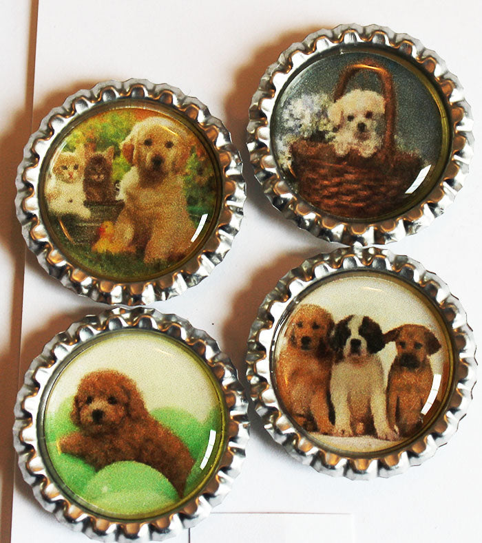 Cute Puppies Flat Bottle Cap Super Strong Magnets