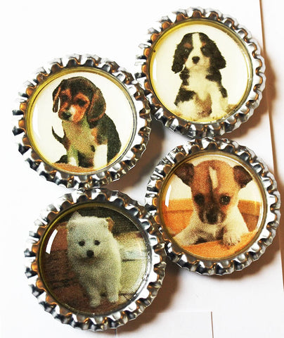 Little Puppies Flat Bottle Cap Super Strong Magnets