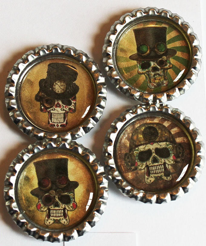 Steampunk Sugar Skulls Flat Bottle Cap Super Strong Magnets
