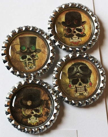 Steampunk Skulls Flat Bottle Cap Super Strong Magnets