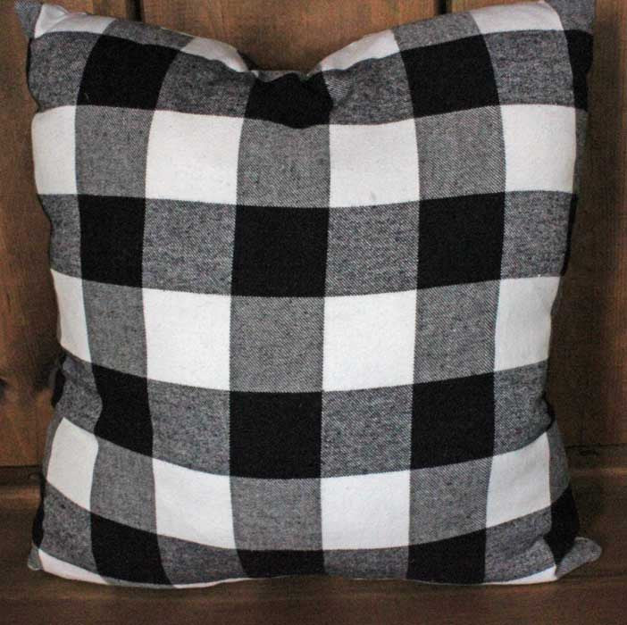 Buffalo Black and White Plaid Flannel Pillow