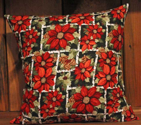 Poinsettia and Pinecones Cotton Throw Pillow Cover