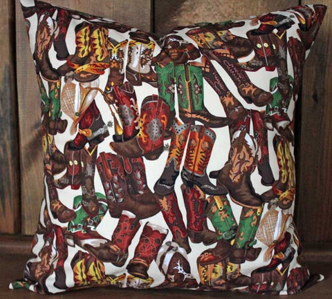 Cowboy Boots Decorative Pillow Cover 18 x 18