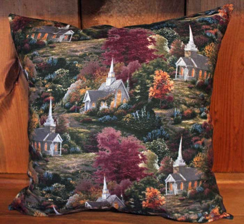 Fall Church Cotton Throw Pillow Cover