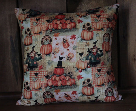 Give Thanks Fall Thanksgiving Cotton Throw Pillow Cover