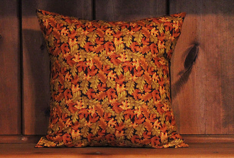 Fall Leaves Cotton Throw Pillow Cover