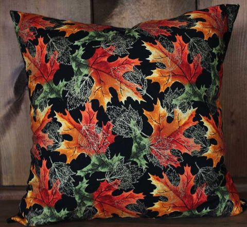 Vibrant Fall Leaves Cotton Throw Pillow Cover