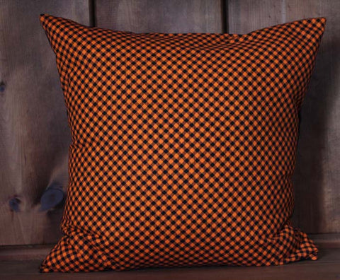 Halloween Plaid Cotton Throw Pillow Cover