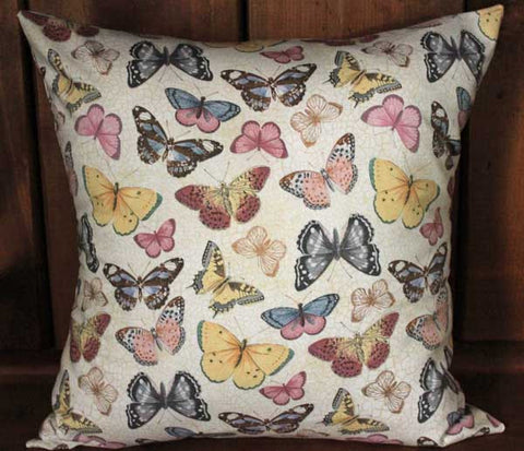 Pastel Butterflies Cotton Throw Pillow Cover