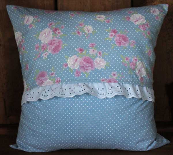 Country Pink Roses with White Eyelet Lace Cotton Removable Decorative Throw Pillow Cover
