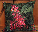 Tropical Flower and Fern Cotton Throw Pillow Cover