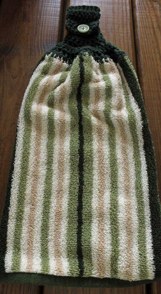 Tan and Green Stripe Kitchen or Bath Towel