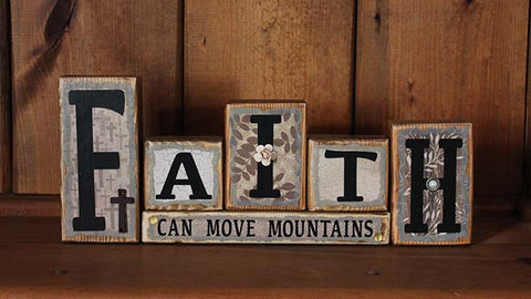 Faith Can Move Mountains Word Block