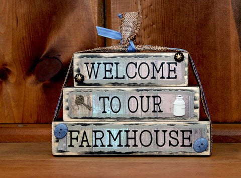 Welcome to Our Farmhouse Wood Word Block