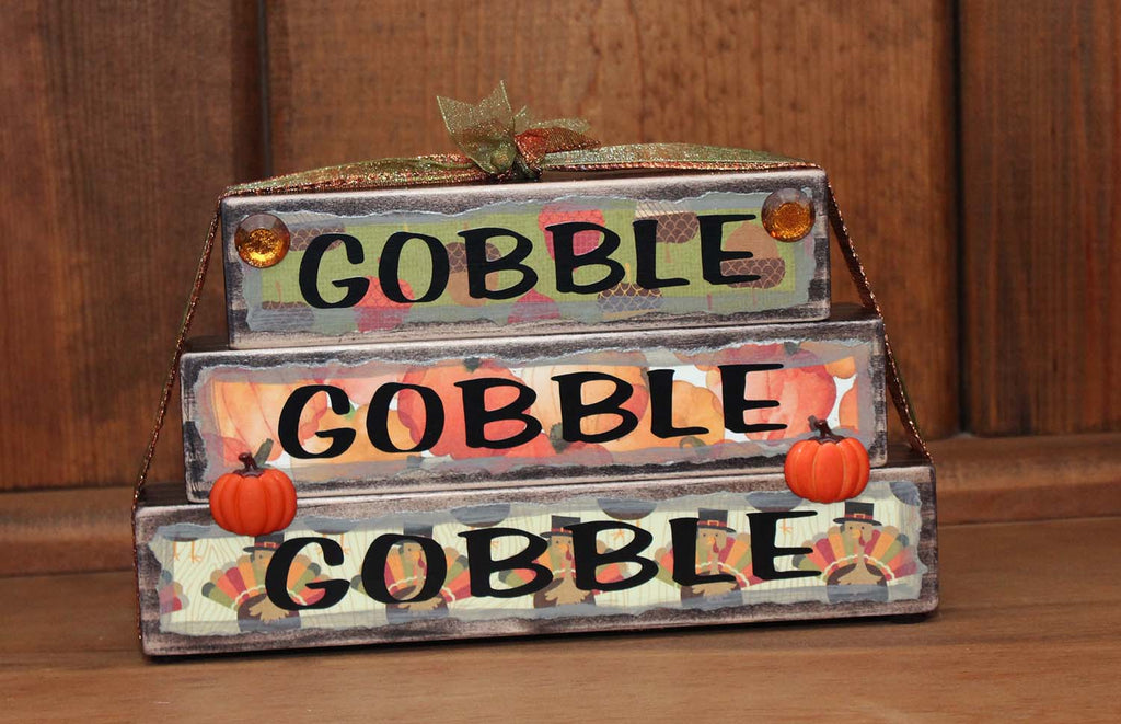 Gobble Gobble Gobble Thanksgiving Holiday Wood Word Block