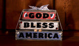 God Bless America Patriotic Wood Word Block