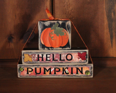 Hello Pumpkin Fall Wood Word Block