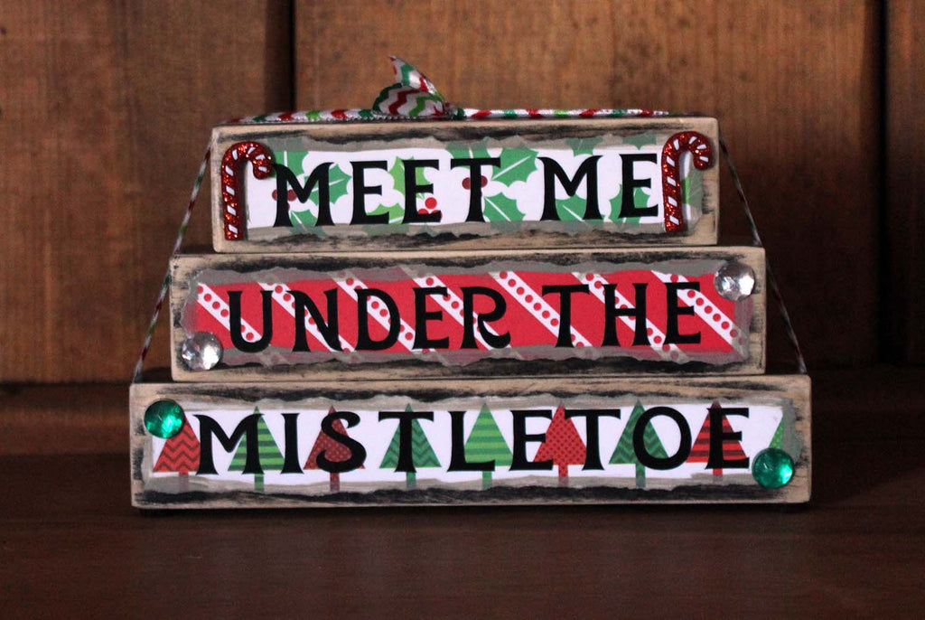 Meet Me Under the Mistletoe Christmas Wood Word Block