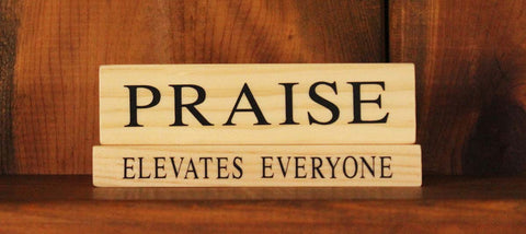 Praise Elevates Everyone Wood Word Block
