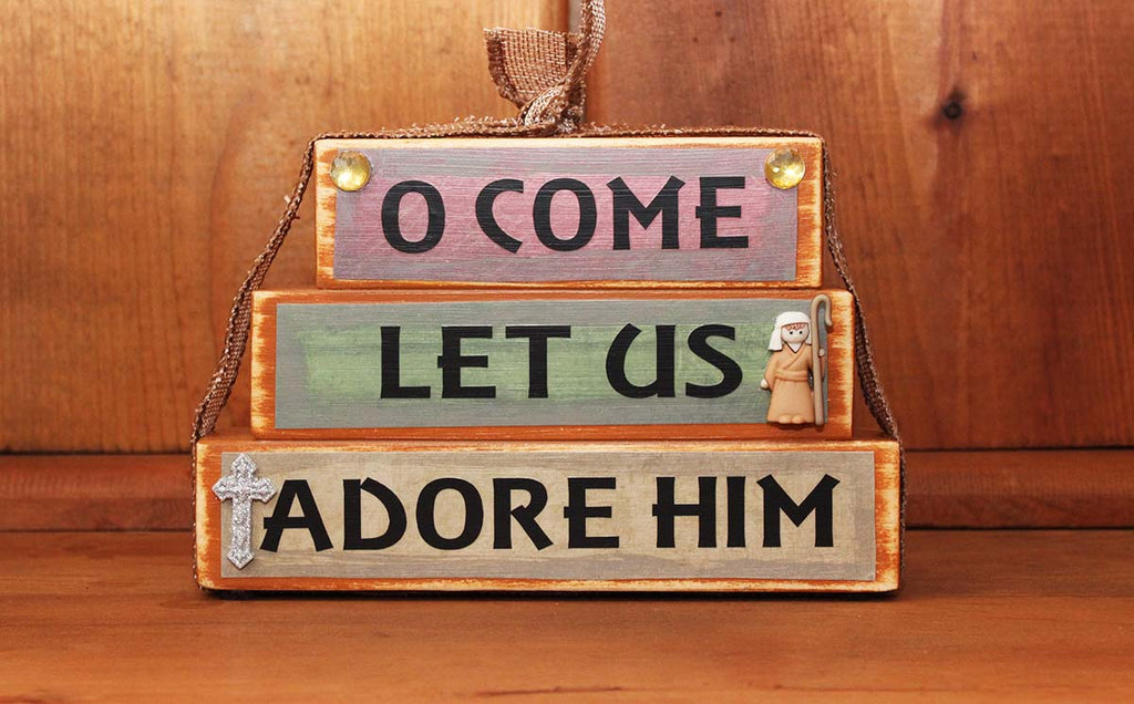 O Come Let us Adore Him Word Block Decor