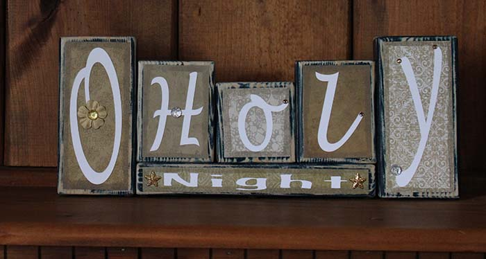 O Holy Night Christmas Word Block Decor