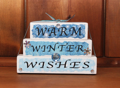 Warm Winter Wishes Word Block Decor