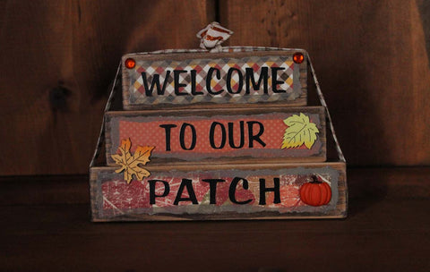 Welcome to Our Patch Wood Word Block