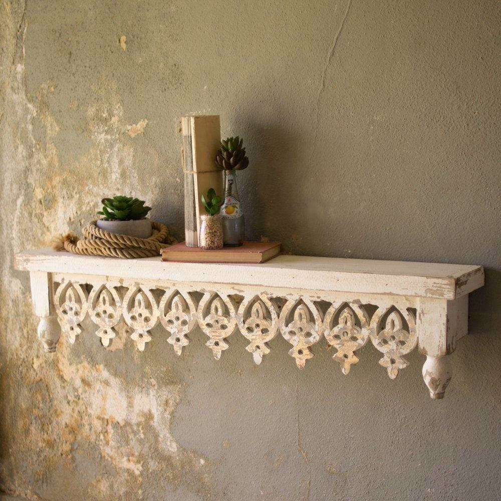 French Country Hand Carved Wood Shelf Cityfarmhouseantiques