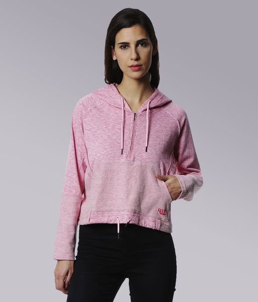 YWC Cropped Sweatshirt with hood - PINK