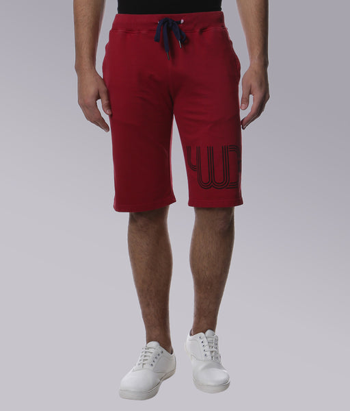 YWC Oil Wash Printed Knit Shorts - BLOOD RED