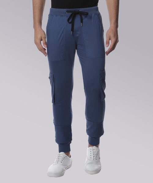 YWC Organic Cotton Combat Knit Blue Joggers with Cargo Pockets