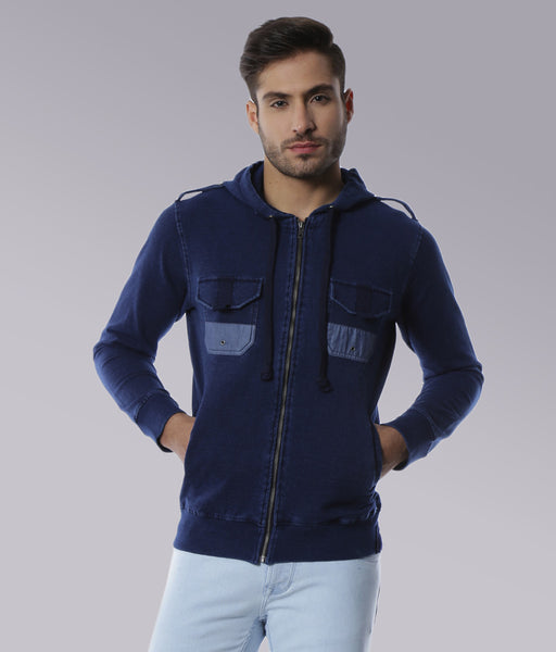 YWC Indigo Hooded French Terry Biker Knit Jacket