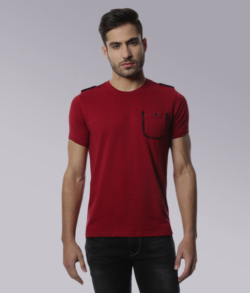 YWC Contrast Panel T-shirt - Blood Red