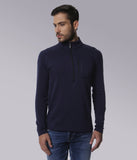 YWC Luxe Supima Cotton Navy Henley with Zipper