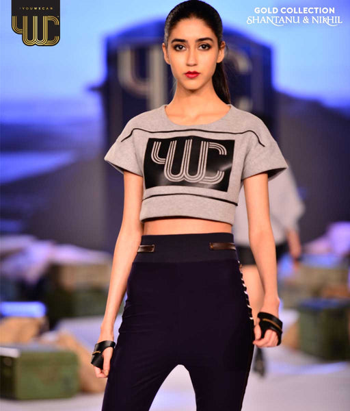 Leather Paneled Crop Top