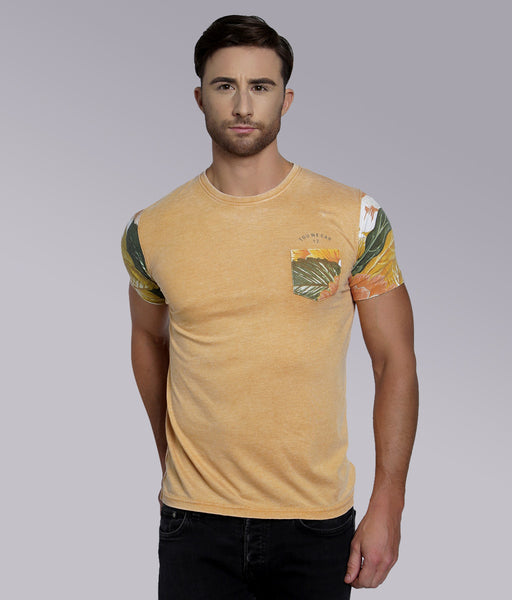 YWC Vintage Contrast Panel T-shirt - MUSTARD