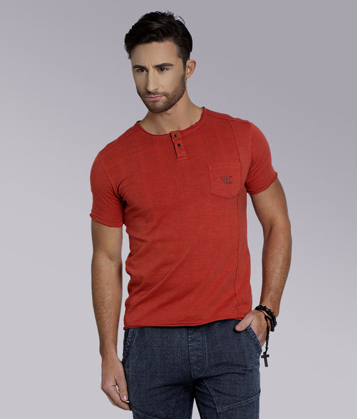 YWC 'Raw Panel' Henley - Orange