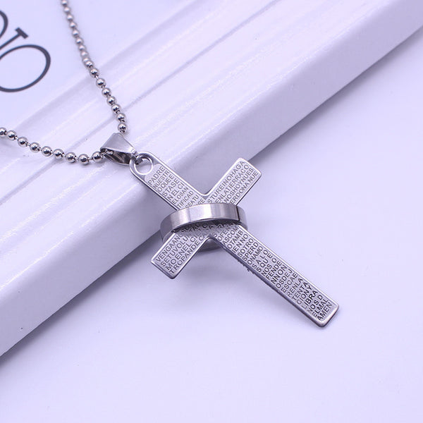 Cross Necklace with Lettering Bible Verses