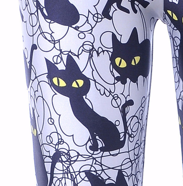 Black Cats Print Legging
