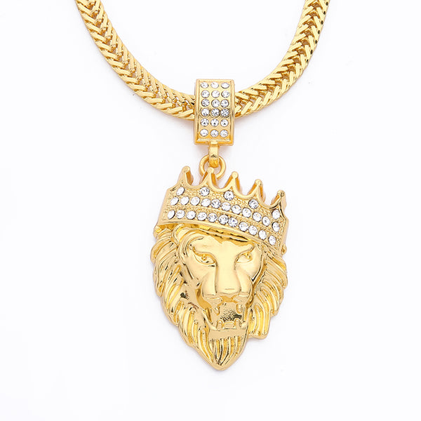 Gold Lion Head Pendant Inlay Rhinestone Necklace