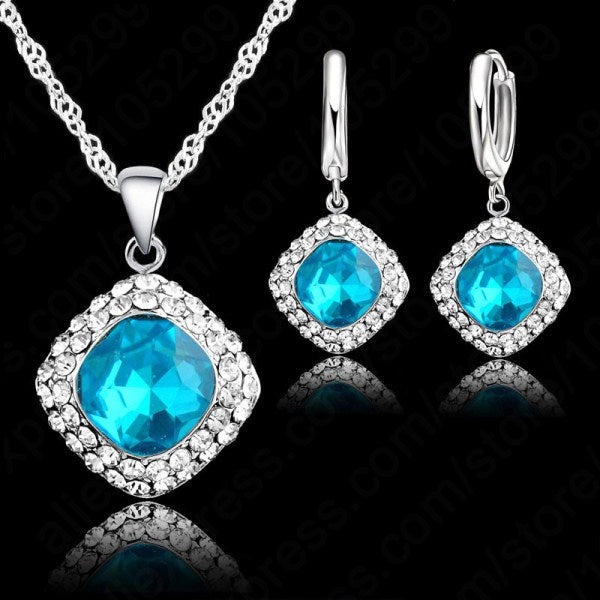 925 Sterling Silver Crystal Set for Women