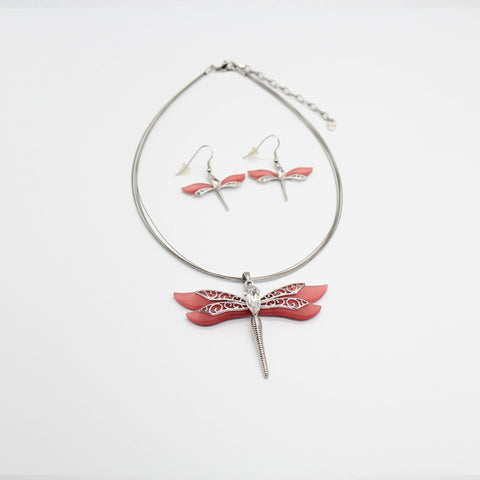 Fashion Necklace and Earrings Set Dragonfly