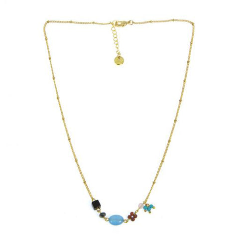 Les Cleias Necklace with Precious Stones and Beads