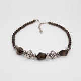 Scarabee Silver Necklace Smokey Topaz Stone