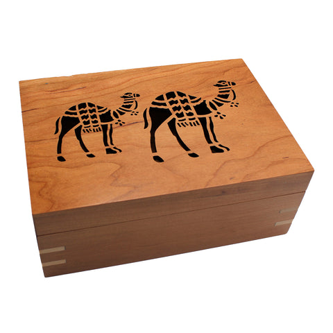 Handcrafted Cherry Wood Box with 2 Filigree Camels