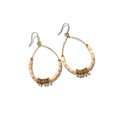 Les Cleias Fashion Earrings Beige