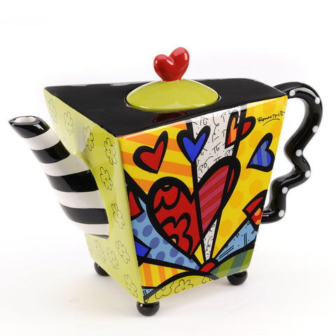 Romero Britto Ceramic Large Teapot Dolomite - A New Day