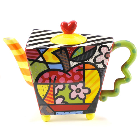 Romero Britto Ceramic Lg. Teapot Apple