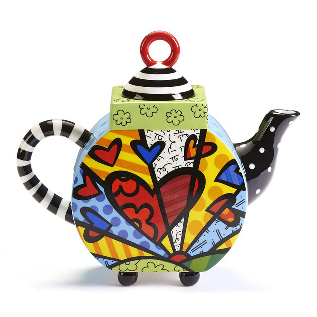 Romero Britto Ceramic Large Teapot Heart A New Day