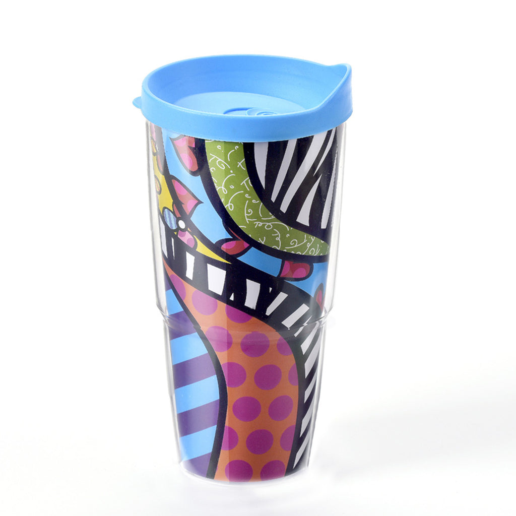 Romero Britto Double Wall Tumbler with Lid